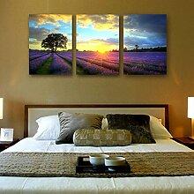 ZZZSYZXL Wohnzimmer moderne TV-Wand Schlafzimmer Bett 3 Sätze von rahmenlos Gemälde - lila Blumenmeer , 50*70*3